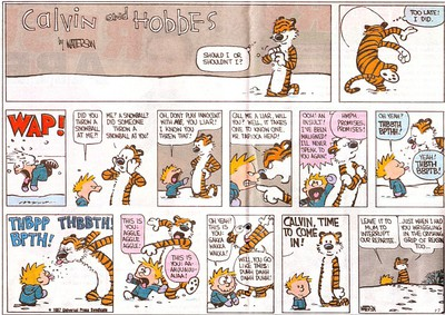 Calvin and Hobbes in a classic argument