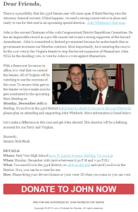 Dick Black campaigning for John Whitbeck using the Republican 10th CD email list