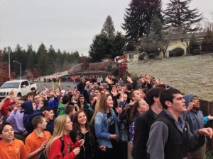 Catholic high school students protest the dismissal of a popular gay vice-principal near Seattle