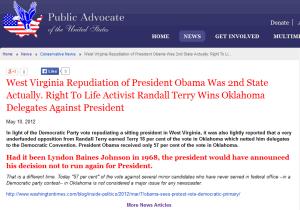 Public Advocate celebrates Randall Terry's Oklahoma delegate scam.
