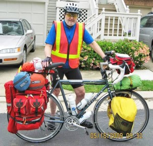 Fred Lonas, taking stock of his supplies, before a long ride.