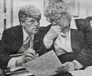 Rep. Zoe Lofgren, reviewing amendments to deal with Columbine, with her Special Counsel, John Flannery.