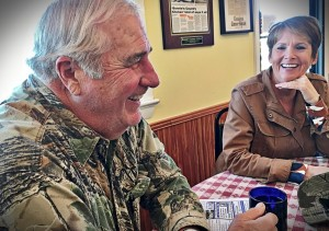 Charles E. Smith and Laurie Hailey at Lovettsville's Bonnie's Country Kitchen