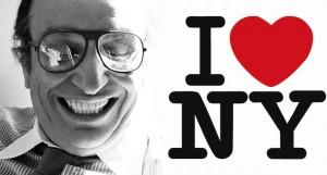 Milton Glaser with his logo