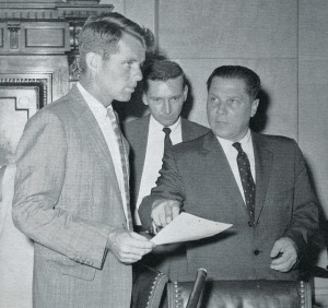 "RFK, Investigator Walter Sheridan, and their ""target,"" IBT Pres. James Hoffa"
