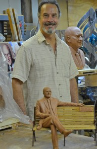 Sculptor Jeff Hall with models for the Caulkins Memorial