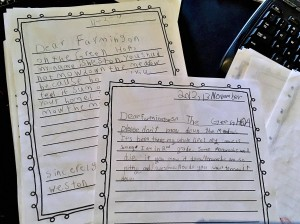 Letters from elementary school students