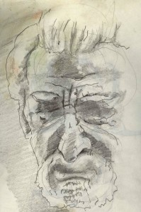 There's an increase of homeless elderly (sketch by J. Flannery)