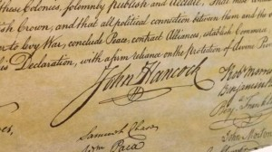 John Hancock signature as shown on the engrossed copy of the US Declaration of Independence